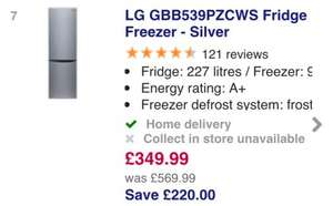 LG GBB539PZCWS Fridge Freezer - Silver - CURRYS - £349.99 save £220