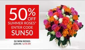 50 mini summer roses £19.99 @ Debenhams with code