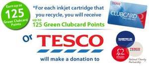 Get 125 TESCO clubcard points (worth up to £5) for each ink cartridge succesfully recycled @ therecyclingfactory