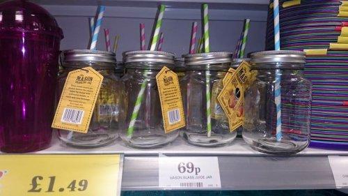 Mason Glass Drinking Jar 69p @ Home Bargains