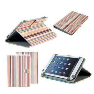 Neotechs® Multi Coloured Stripes Stylish Folio Leather Carry Case Cover Sleeve Stand for Google Nexus 7 1st & 2n Gen Argos MyTablet 2 Tesco Hudl Tablet £1.49 delivered @ Neo Direct Ltd / Amazon