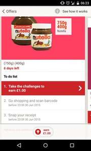 Nutella 400g £1.98 or 750g £3.49 -  £1 cashback with shopitize