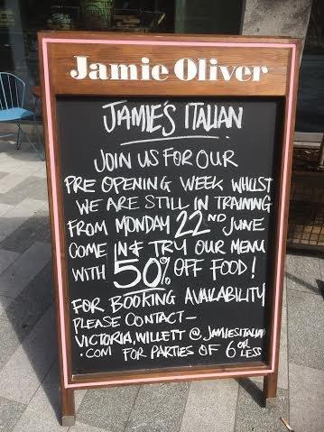 Free hot drinks & half price food at the new 'Jamie's Italian' in Victoria Street, London, Victoria