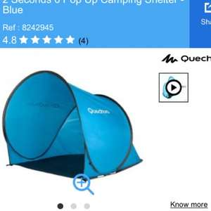 Quechua 2 Seconds 0 Pop Up Camping Shelter in Blue £16.99 at decathlon click and collect (great sun shade for beach / camping / fishing / holidays / outdoor)