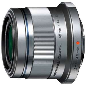 Olympus M.ZUIKO DIGITAL 45mm f/1.8G Standard Lens, Silver £149.95 + £30 cashback. Clearance at John Lewis.