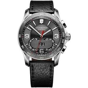 Victorinox Swiss Army 1/100th Perpetual Chronograph Watch, Grey / Black Leather £337.50 John Lewis