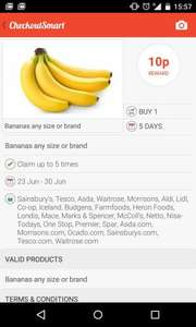 10p cashback for buying Banana(s) any size or brand with Checkoutsmart