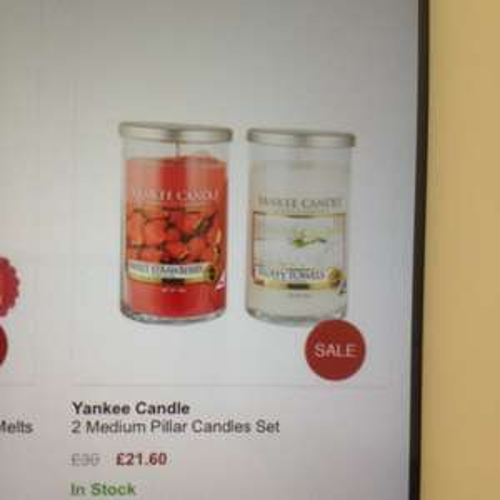 2 medium yankee pillar candles £21.60 @ very