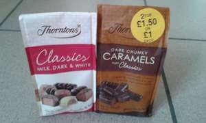 Thorntons Classic and new Dark Chunky Caramels 2x100g for £1.50  at WH Smith
