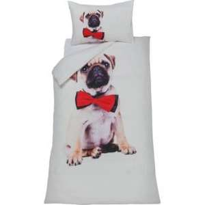 * Cute Pug Dog Multicoloured Bedding Set - Single Now £5.98 Double £7.98 @ Argos (R&C) *