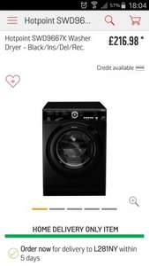 Hotpoint SWD9667K Washer/Dryer £216.98 delivered @ Argos