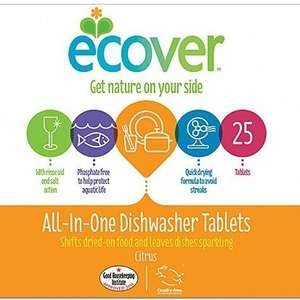 Ecover all-in-one dishwasher tablets half price at Tesco: £3  for 25 (12p each)