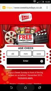 Sweet Sundays is back!   Up to 2 cinema tickets per person with tokens. £4