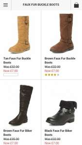 Faux Fur Winter Boots £6.30 delivered to store Dorothy Perkins