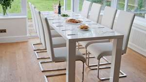 Frances White High Gloss Extending Dining Table was £329.99 now  £229.99 @ Fads