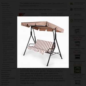 Greenfingers 3 seater swing seat £46.99 (with code) delivered plus possible tcb 10.5% new costumers