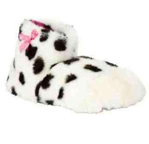 John Lewis Children's Faux Fur Dalmatian Paw Slippers, White/Black £3.75. Click and collect available
