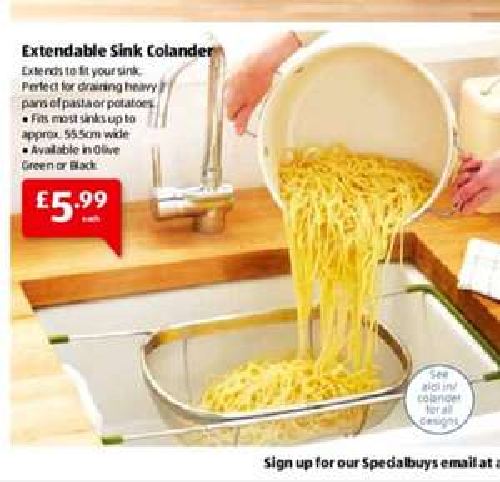 Extendable sink strainer colander £5.99 @ Aldi