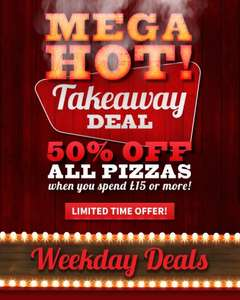 MEGA HOT 50% off Takeaway Pizzas When You Spend £15 Or More In store Only @ Pizza Hut