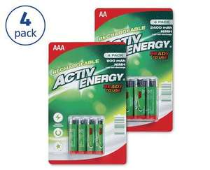 Aldi rechargable batteries AA AAA £3.49 from 9th