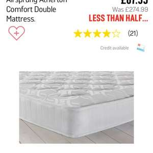 Double mattress argos £87.99 was £274.99 @ Argos