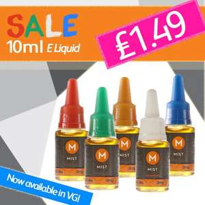 10ml Mist E liquid for just £1.49 (originally £3.50)
