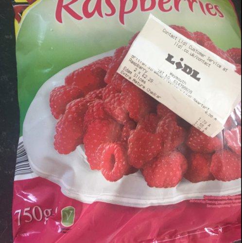 750g of frozen raspberries £2.29 in store at Lidl