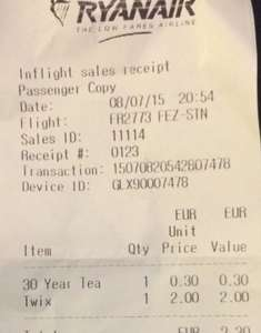 Ryanair onboard flight tea/coffee - was €2.00 now €0.30 / 25p