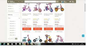 "Thomas & Frnds, Mickey Mouse,Postman Pat,Peppa Pig, Doc Mcstuffins, Hello Kitty 10 "" kids bike with stabilizers £30 + free click and collect @ Tesco Direct"
