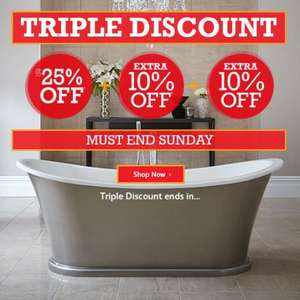 Triple discount offer this weekend @ Bathstore i.e. 25% off + Extra 10% + Extra 10% (Live now)