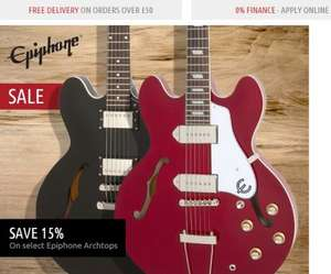 15% Off Epiphone Arch Top Guitars In-Store & Online Delivered Free - Dawsons