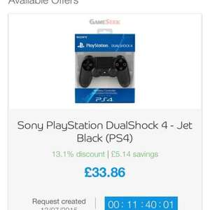 ps4 dual shock controller £33.86 @ bespoke offers / gameseek