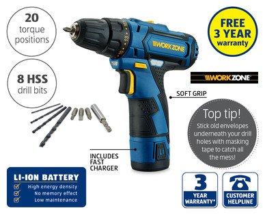 Work Zone 12V Li-Ion Cordless Drill ONLY £29.99 @ Aldi