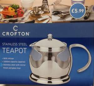 Glass and Stainless Steel Teapot £5.99 @ ALDI