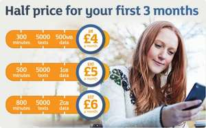 Half price Mobile by Sainsbury's sim only plans