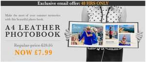 **Extended Deal** A4 Leather Photo Book RRP £29.95 £7.99 @ Printerpix
