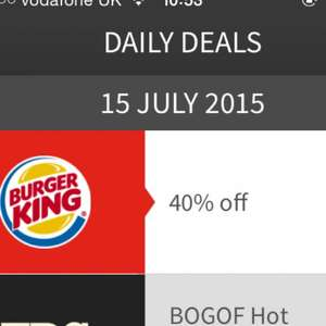 40% off Burger King today at Moto Service Stations via App