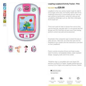 Leapfrog Leapband Activity Tracker - Pink - £20 @ ASDA George