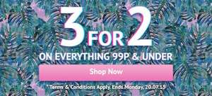 3 for 2 on all items 99p or under @ cosmetics fairy