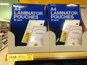 Tesco Laminating Pouches (Pack of 25) £1.48 in store