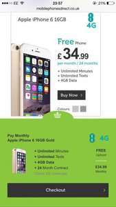 Free iPhone 6 @ £34.99/month 4gb of data MobilephonesDirect
