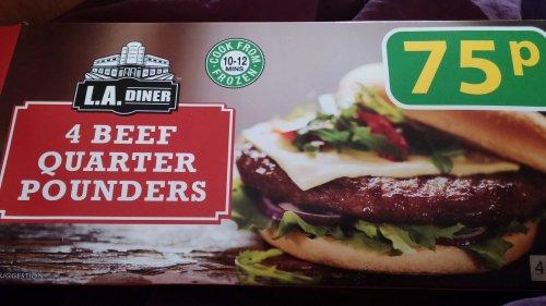 L.A.DINER 4 beef quarter pounders 75p farmfoods.