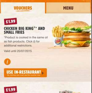 BURGER KING Chicken Big King & Small Fries £1.99 with app