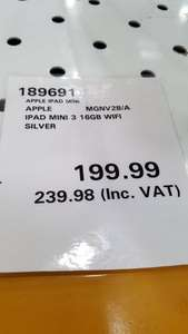 Apple ipad mini 3 16gb in silver £240 @ Costco