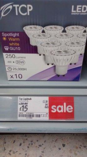 10 pack gu10 LED bulbs £15 was £29.99 instore asda