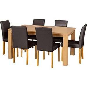 Swanley Oak Dining Table & 6 Chocolate Leather Effect Chairs. £134.99 + £8.95 delievery (£143.94) from argos