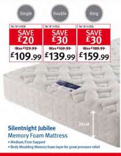 Silentnight Jubilee Single medium/firm memory foam topped mattress £131.99 @ Makro