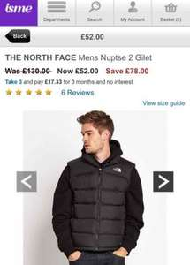 northface Nuptse 2 body warmer men's £55.99 @ Isme