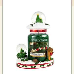 green snow globe jar topper & holder with Christmas garland large jar £18 @ Yankee Candle
