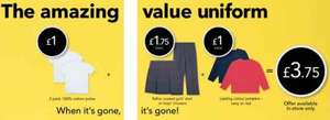 George Asda School Uniform Deal £3.75 for 2 x Polo Shirts, Jumper and Skirt/Trousers